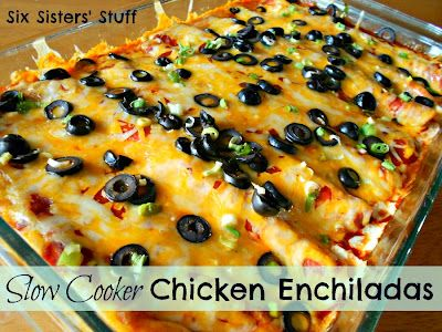 Slow Cooker Chicken Enchiladas- let your crock pot do all the work! The flavor of the chicken is delicious. SixSistersStuff.com #recipe #enchiladas