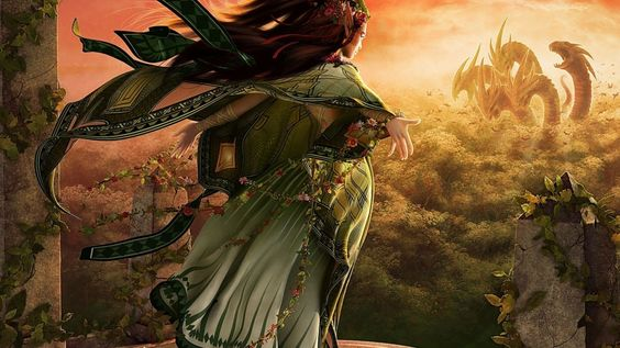 Download wallpaper girl, the dragon dress, fantasy resolution 1366x768