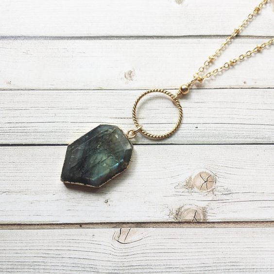 Labradorite Shield And Circle Necklace  by MarleeCWatts on Etsy