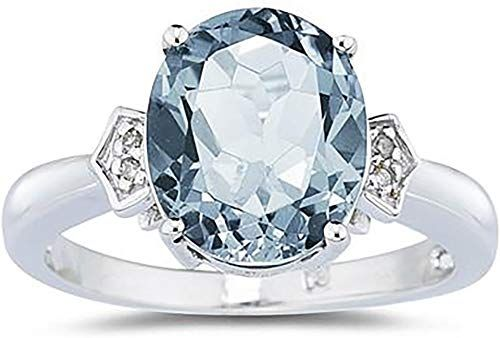 New Aquamarine Diamond Ring 10k White Gold Online Diamond Ring White Gold Jewelry White Gold