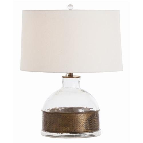 Garrison Jug Vintage Brass/Glass Lamp with Off-White Linen Shade/Off-White Cotton Lining
