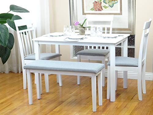 Rattan Wicker Furniture 5 Pc Dining Kitchen Set Of Rectangular Table And 3 Chairs W Easy Assembly Required Dinning Table Set White Dining Table Kitchen Sets