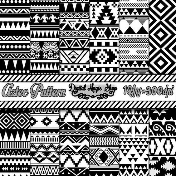 12 motif géométrique noir et blanc sans couture aztèque Digital Paper, Ikat…
