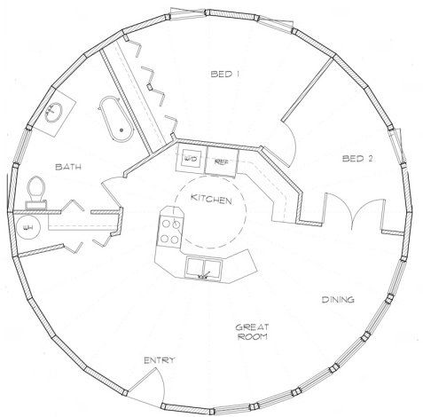 round house  though I woukld rather be able to get to my bedroom by not walking through the other bedroom, move the master up to a second floor and make the ground floor space bigger.: