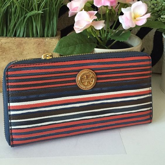 """Tory Burch KERRINGTON Comet Wallet 100% Authentic! Brand New with Store Tag (missing original tag);TORY BURCH - Kerrington Comet Stripe; Zip Around Continental Wallet;Gold tone logo on front;Zip in the middle; 12 CC Slots; 2 bill pockets;6 bill slots;4""""Hx7.5""""Lx1.25""""D Tory Burch Bags Wallets"""
