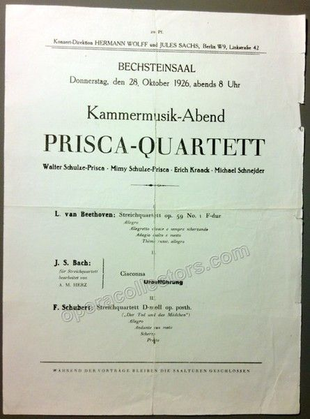 Prisca Quartet. Recital in Berlin, 28 October 1926. Beethoven, Bach-Herz (world…