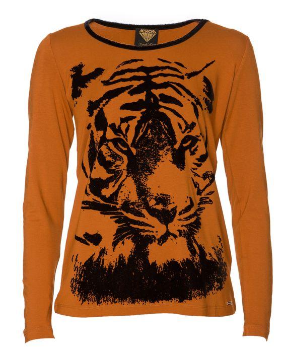 Sarah Kern Shirt mit Tiger-Flock-Glitterdruck