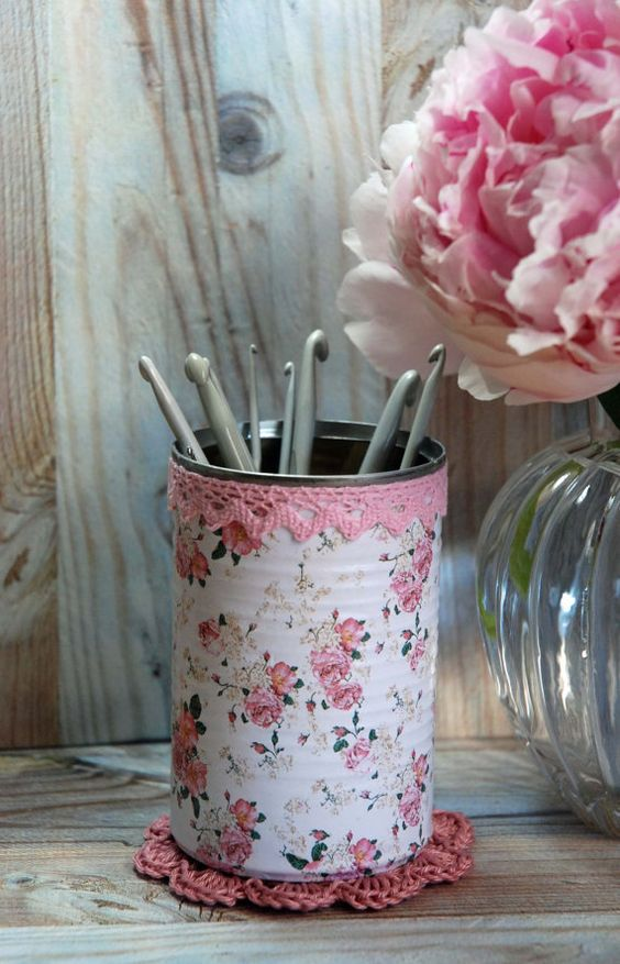 Vintage Cottage Roses Shabby Chic Style Tin Desk Organizer with your choice of Doily & Tiny Tin: