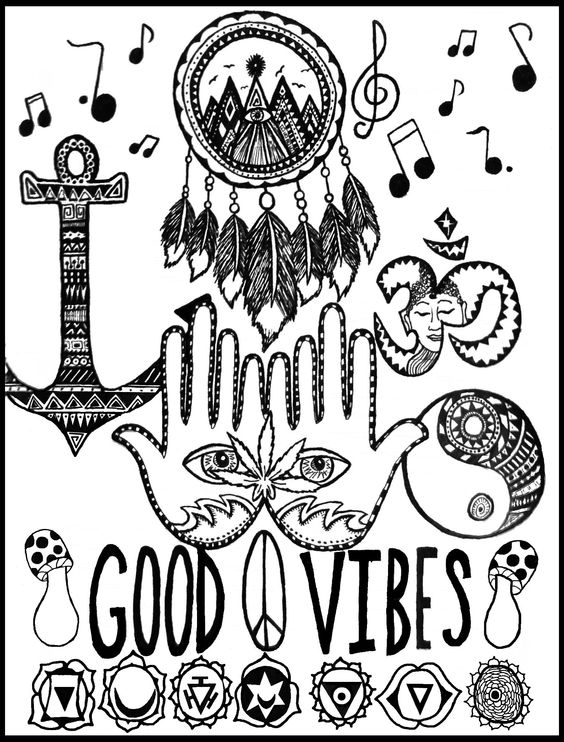 Nothing But Good Vibes And Positive Energy Peace Love Hippy Stoner Weed Anchor Yinyang