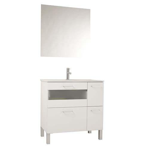 Mueble De Bano Fox 80 Cm Blanco Con Fondo Reducido Muebles De