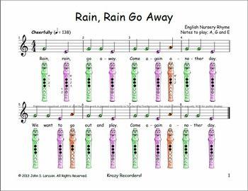 """Free Recorder Music  """"Rain, Rain Go Away"""" Sheet Music"""