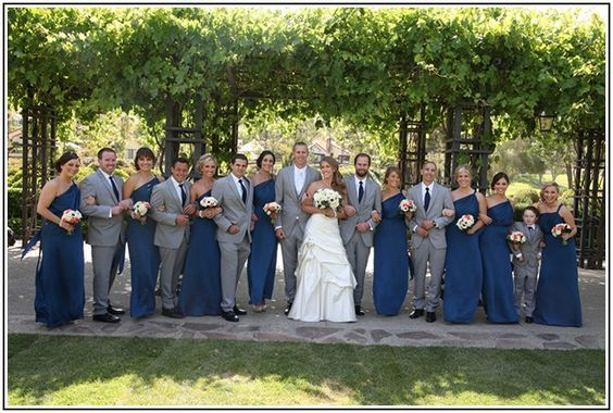 grey groomsmen with navy bridesmaids Google Search