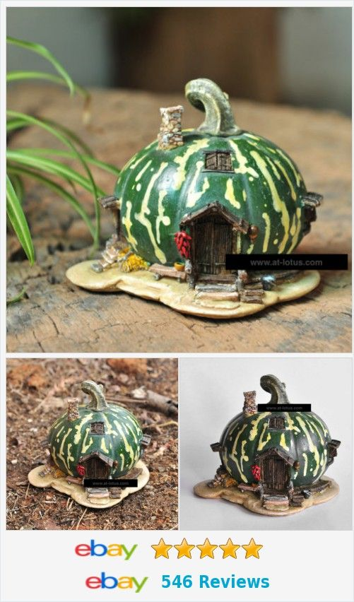 Miniature Green Gourd Fairy House 419300995 Resin Gardens Gnome