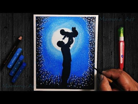 Father S Day Drawing Very Easy With Oil Pastels For Beginners