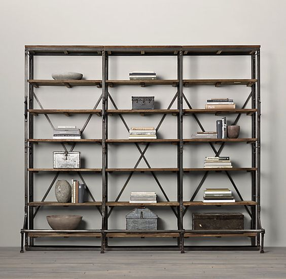"""108"""" French Library Shelving Natural Antiqued Iron 