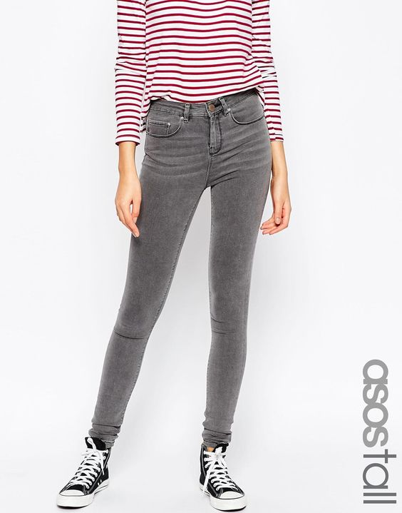 Image 1 ofASOS TALL Ridley High Waist Ultra Skinny Jeans In Slated Charcoal