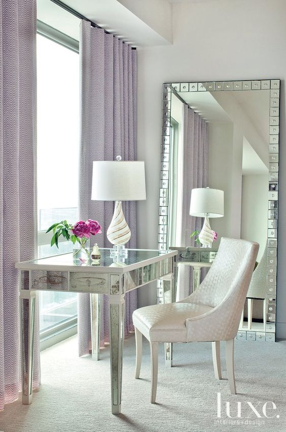 Modern Neutral Master Bathroom 2: Contemporary Neutral Nook With Lavender Draperies