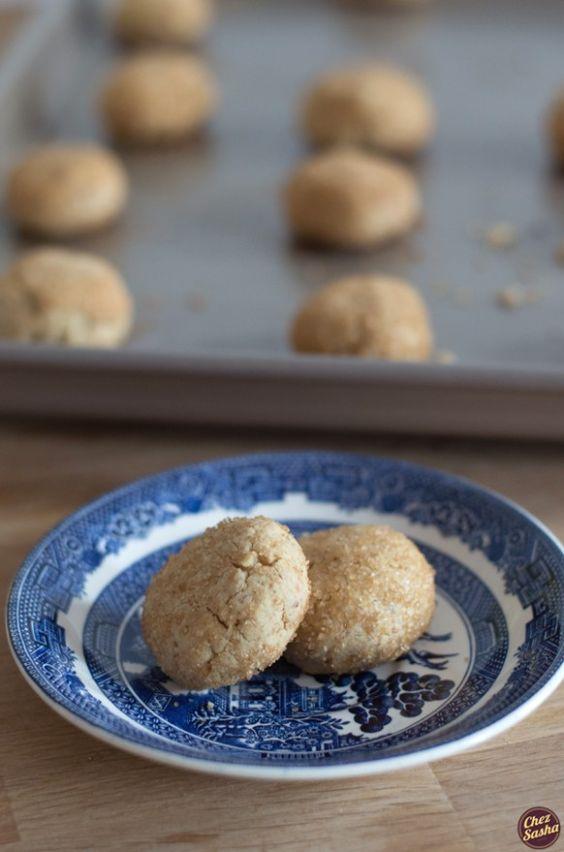 Walnut-tahini cookies - akin in flavor to halva, and one of the easiest cookies you'll ever make. via chezsasha.com