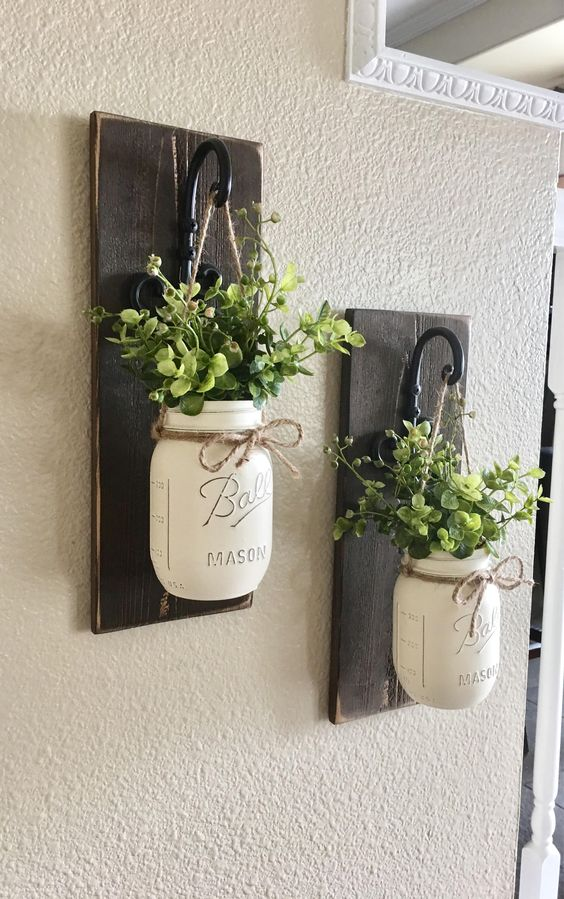 what to do with empty glass jars.  farmhouse style hanging planters