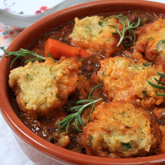 This beef stew and dumplings recipe is done in a slow cooker. Start it early in the day and enjoy for dinner!