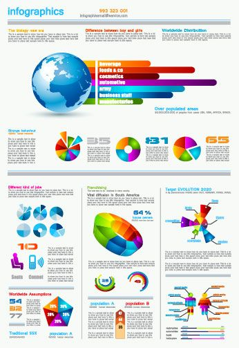 Set of chart and Infographics design elements vector 05