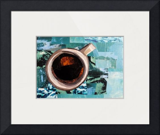 """""""Coffee Time"""" by Megan Coyle, VA // 'Coffee Time' is a collage made entirely from magazine strips by collage artist Megan Coyle. // Imagekind.com -- Buy stunning fine art prints, framed prints and canvas prints directly from independent working artists and photographers."""