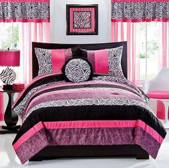 Pink black, Dream bedroom and Comforter on Pinterest