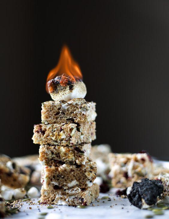 toasted marshmallow harvest rice krispie treats I howsweeteats.com: