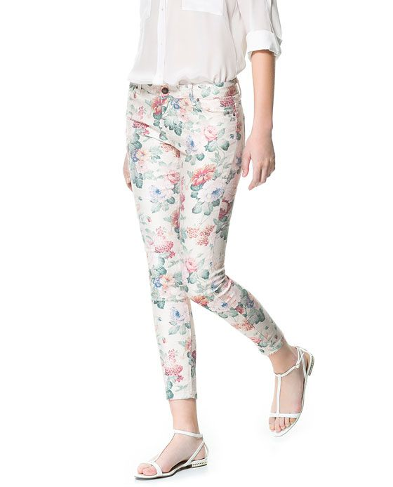 5 POCKET FLORAL PRINT TROUSERS - Trousers - Woman | ZARA United States