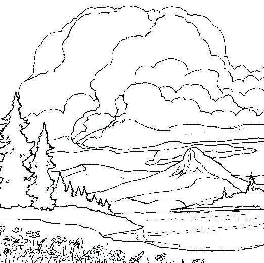 Landscape Coloring Pages Mountain Coloring Pages Landscape