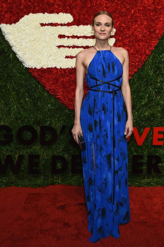 Diane Kruger in Golden Heart Awards 2015 - Blue maxi dress with healter neck and original fit belt