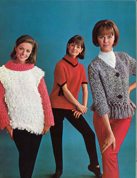 Shaggy & Fringe • 1960s Pullover Sweater Cardigan Vest Patterns • 60s Vintage Knitting Jumper Pattern • Retro Knit PDF by TheStarShop on Etsy