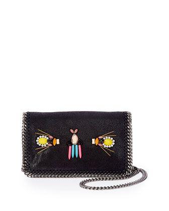 Falabella Beaded Embroidered Crossbody Bag, Black by Stella McCartney at Bergdorf Goodman.