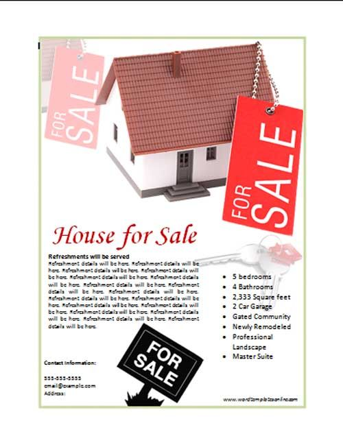 House For Sale Poster Template The house for sale ad, flyer or - printable car for sale sign template