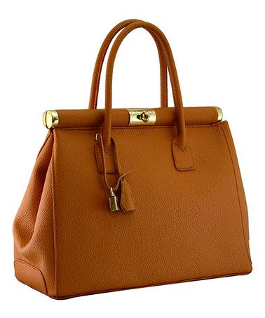 Look what I found on #zulily! Tan Minerva Leather Satchel by H&S Collection #zulilyfinds