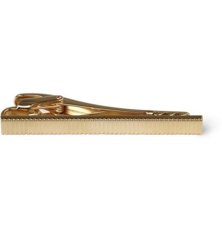 Lanvin Engraved Rose Gold-Plated Tie Clip