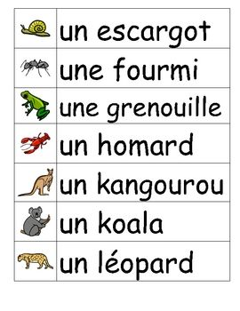 Animaux, Vocabulary and Vocabulary word walls on Pinterest