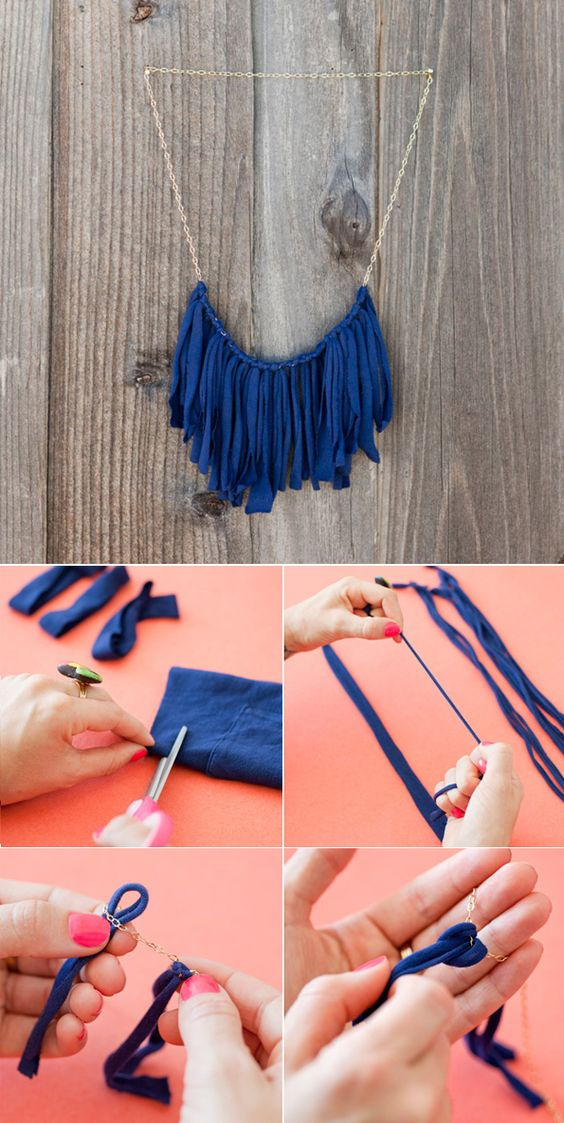 DIY: T shirt flirty fringe Necklace by Brit + Co via Maiko Nagao blog: