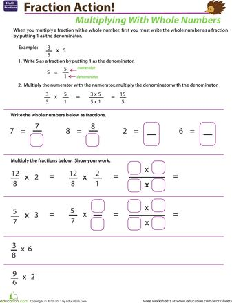 Multiplying Fractions with Whole Numbers | Pinterest | Worksheets ...