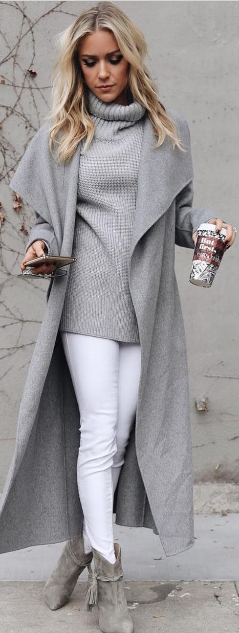gray duster coat, gray coat, winter outfit, woman outfit, white jeans, gray booties, grey sweater