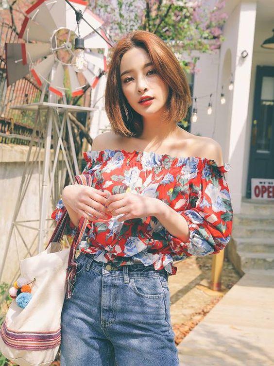 korean fashion x off-shoulder x floral prints x mom jeans x denim x girly: