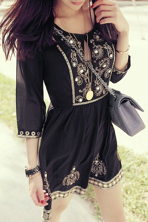 Half Sleeve Embroidered Beading Tunic Dress