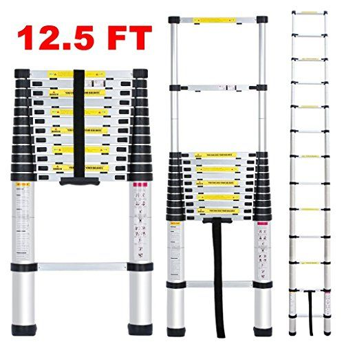 12 5 Ft Aluminum Telescopic Telescoping Extension Ladder With Spring Loaded Locking Mechanism Non Slip Ribbing 330 Pound Capacity Review Multi Purpose Ladder Ladder Telescope