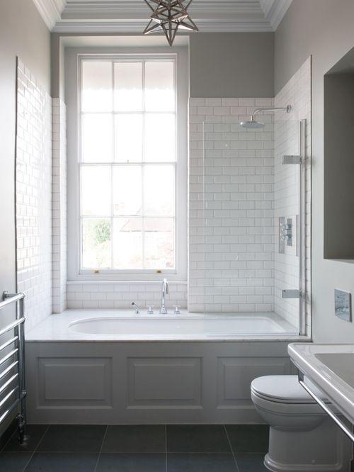 Drop In Tub Design Subway Tile Glass Door Tub Front Bathroom