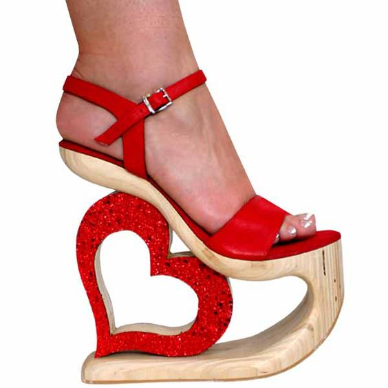 7.5 Inch Red Leather/Wood Heart shaped Cut Out High Heel Platform ...