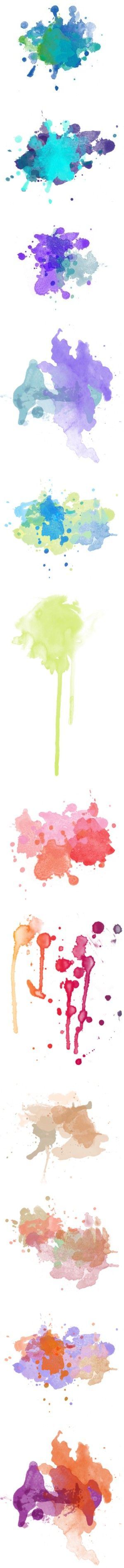 Ink Spalshes by sylandrya on Polyvore featuring splashes, fillers, polypaint, backgrounds, paint splashes, effects, paint, textures, embellishments and doodles: