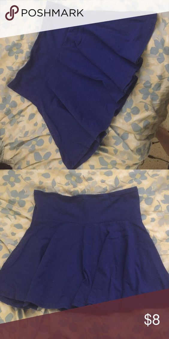 Blue Skater Skirt Worn and washed once, perfect like new condition. Size L but could fit M. Can be dressed up or down, perfect for any occasion 💕 feel free to offer ! Forever 21 Skirts Mini