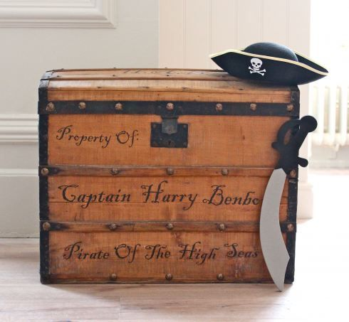 Customize a wooden box or chest with printed out decal for Craft bits and pieces