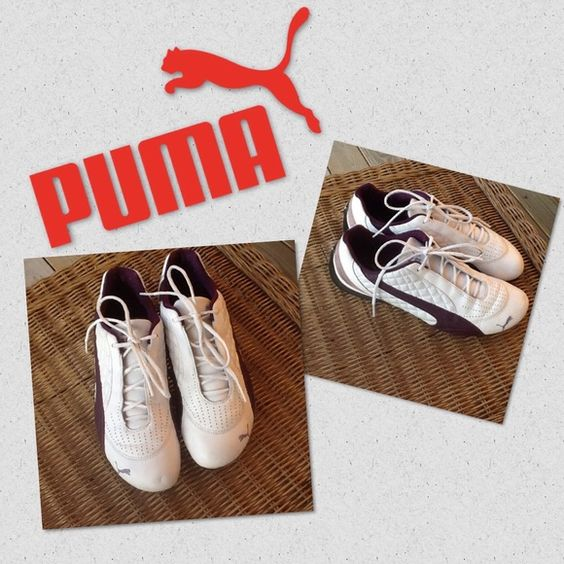 Puma Shoes Puma casual leather shoes in white with purple details. Feel free to make an offer. The soles are in great shape and have barely been worn. Puma Shoes
