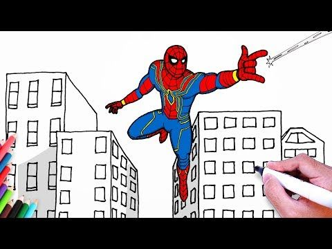 How To Draw Spiderman Iron Spider Suit Drawing Easy Step By Step Spider Man Coloring Pages Youtub Scenery Drawing For Kids Easy Drawings Iron Spider Suit